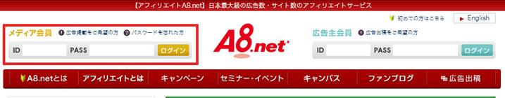 A8netログインページ